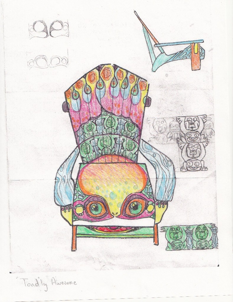 airdirondack chairs  the art of brenna miller - i like to think that the six orange and green circles that are on the backof the chair are the eyes of three little frogs peeking through the bigfrog's