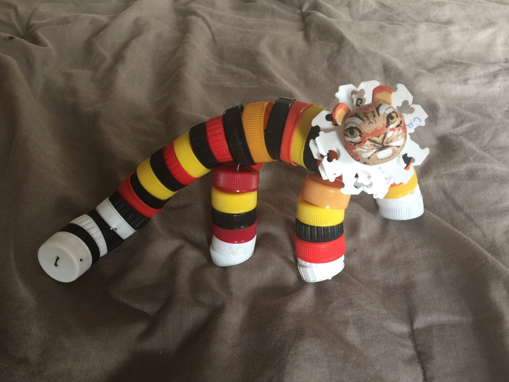 bottle cap tiger
